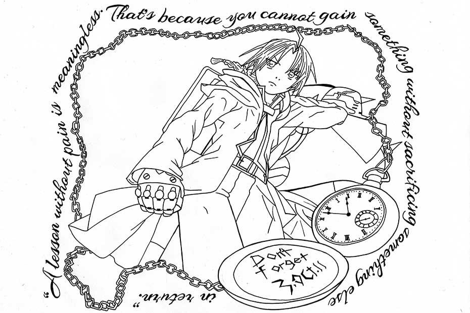 Disegno ispirato a Fullmetal Alchemist creato da Emma Cappellozza, studentessa del Medi